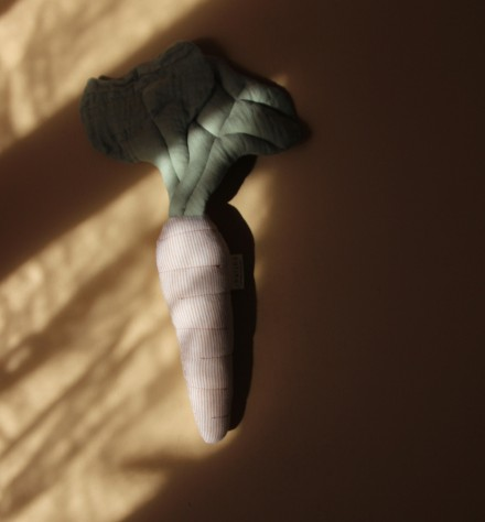 Doudou hochet Carotte Lin blé et bleu